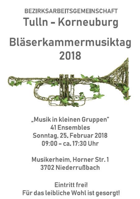 Bläserkammermusiktag der BAG Tulln-Korneuburg in 3702 Niederrußbach am 25.02.2018