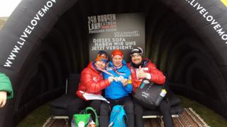 Alexander Radin, Günther Schwaiger und Alexander Pacher im Burgenland