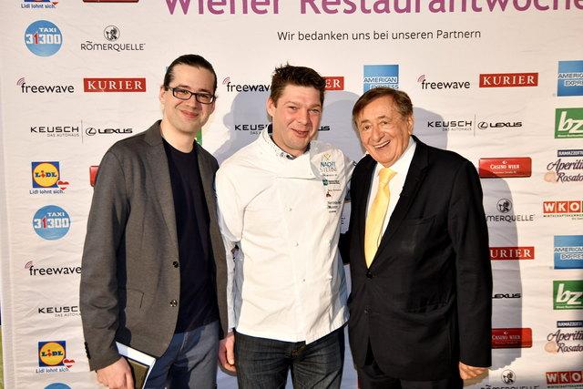 Dominik Holter, Organisator der Wiener Restaurantwoche, Spitzenkoch Michael Böhm vom Landgasthaus Böhm und Baumeister Richard Lugner (vl)