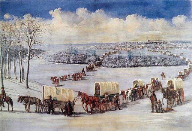 Februar 1846 - Auszug aus Nauvoo über den gefrorenen Mississippi
