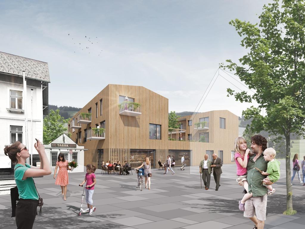 So soll es aussehen, das neue Ortszentrum von Stanz: Links das Gemeindeamt, rechts die Wohnungen für Jung und Alt und Geschäfte.