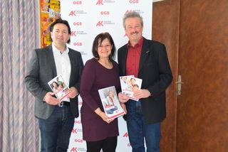 Andreas Hitz, Michaela Schön und Christian Hemerka präsentierten die Jahresbilanz der Arbeiterkammer.