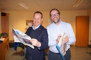 Sepp Schellhorn, Landessprecher der Neos Salzburg und Matthias Strolz, Vorsitzender der Neos, besuchten die Bezirksblätter.