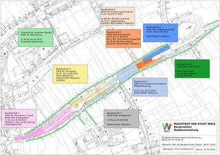 Der Baustellenplan zur Neugestaltung des Stadtplatzes Wels.
