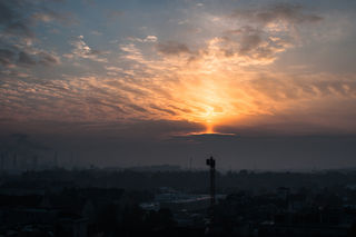 ...Sonnenaufgang um 06.43 Uhr in Schwechat