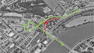 Von Samstag bis Sonntag müssen Autobahnnutzer in Urfahr auf die Freistädterstraße abfahren. Über die Lindengasse kann wieder auf die A7 aufgefahren werden.
