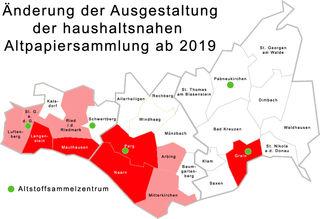 In Rot: Hier gibt es die Rote Tonne schon. In Hellrot: Hier wird die Rote Tonne 2019 eingeführt.