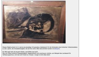 Auf der Rückseite des Bildes soll Adolf Hitler abgebildet sein. Das Gemälde wurde bereits beschlagnahmt.