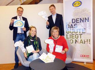 Von links WKO-Obmann Reinhard Stadler, Sarah Seidel (Designerladen), Daniela Durstberger, Bürgermeisterin von Lichtenberg und WKO-Leiter Franz Tauber.