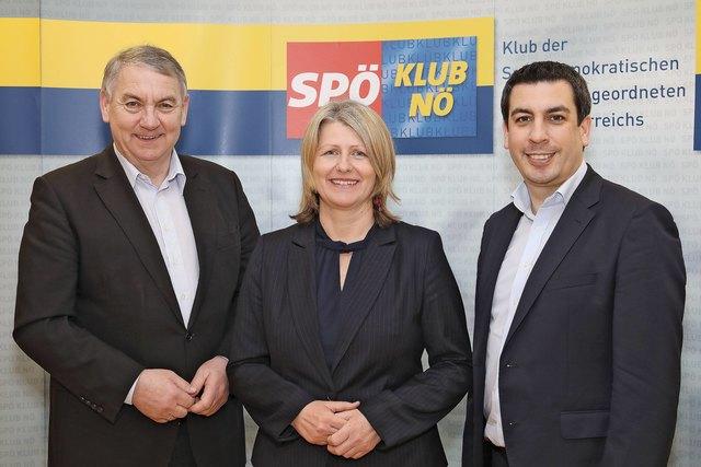 (v.l.n.r.): Klubobmann Reinhard Hundsmüller und seine beiden StellvertreterInnen LAbg. Karin Scheele (Bezirk Baden) und LAbg. Dr. Günther Sidl (Bezirk Melk)