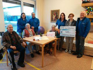 Die FPÖ-Ortsgruppe Bad Blumau, unter Obmann  Josef Titz überreichte den Bewohnern des Pflegeheims Compass eine Spende von 500 Euro.