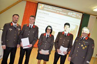 In der 125. Wehrversammlung der Feuerwehr Heiligenkreuz am Waasen standen Angelobungen auf dem Programm.