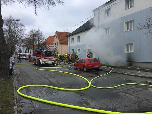 Weil im Keller des Gemeindebaues viel Holz lagerte, verbreitete sich das Feuer sehr schnell.