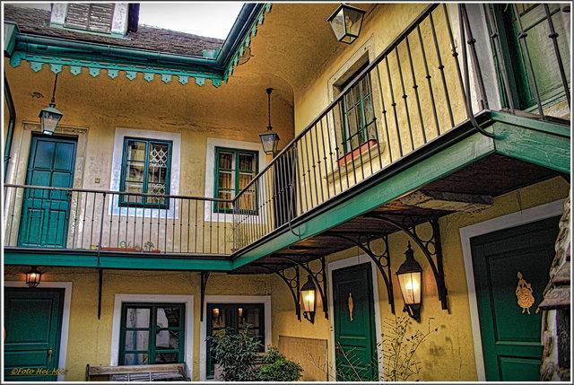 Der Innenhof im historischen Seifensiederhaus, dem ehemaligen Gemeindehaus der jüdischen Gemeinde.