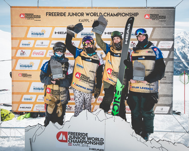 Die glücklichen Gewinner in Kappl: Jesse Aves, Jazmine Erta, Marie Bovard und Dylan Lavenex (v.l.).
