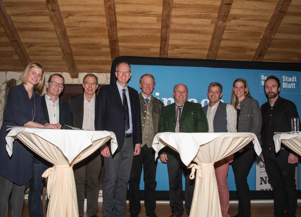 Julia Baumgärtner (BB), Herbert Wallner (SBG-Liste Mayr), Cyriak Schwaighofer (Grüne), Manfred Sampl (ÖVP), Ernst Rothenwänder (FPS), Ernst Lassacher (FPÖ), Gerd Brand (SPÖ), Andrea Klambauer (Neos), Peter J. Wieland (BB).