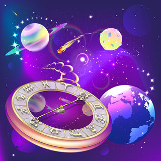 star background with clock and zodiac signs, vector illustration