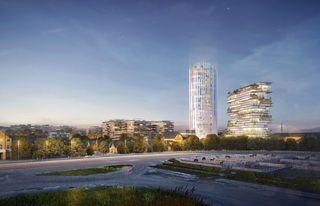 Das Siegerprojekt, gesehen von der Trabrennbahn: Links entstehen Büros und ein Hotel, rechts wird gewohnt.