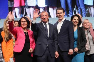 Im Bild v.l. Daniela Gutschi, LH Wilfried Haslauer, Bundeskanzler Sebastian Kurz und Staatssekretärin Karoline Edtstadler.