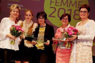 Frauenbeauftragte Michaela Slamanig und die Preisträgerinnen Romy Kirchauer, Karin Achatz und Elisabeth Sagerschnig, mit Frauenreferentin Beate Prettner