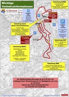 Mit umfangreichen Verkehrsbehinderungen ist am 15. April in Linz zu rechnen. Den Plan finden Sie auch auf www.linzmarathon.at