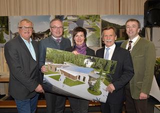 Präsentierten die Pläne in Lunz: Gerhard Heilingbrunner, Stephan Pernkopf, Katrin Zettl, Martin Ploderer und Christoph Leditznig.