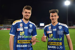 Stefan Meusburger (l.) und Manfred Fischer erzielten die Treffer für Hartberg.
