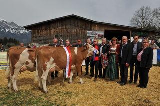 Die Gesamtsiegerin und Reservesiegerin bei Fleckvieh stammen beide vom Züchterstall Markus Kössler aus Tulfes.