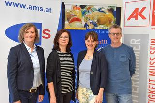 Erstes Salzburger Info.Frühstück für junge Lungauer Familien: Waltraud Loidl (AMS), Monika Weilharter (Forum Familie), Landesrätin Martina Berthold und Peter Eckel (AK Salzburg).