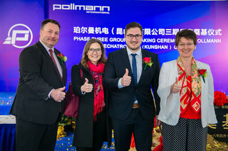 Markus Pollmann mit Christina Schösser Handelsdelegierte vom österreichischen Konsulat in Shanghai, Stefan Pollmann und Generalkonsulin Brigitte Robinson-Seyrlehner.
