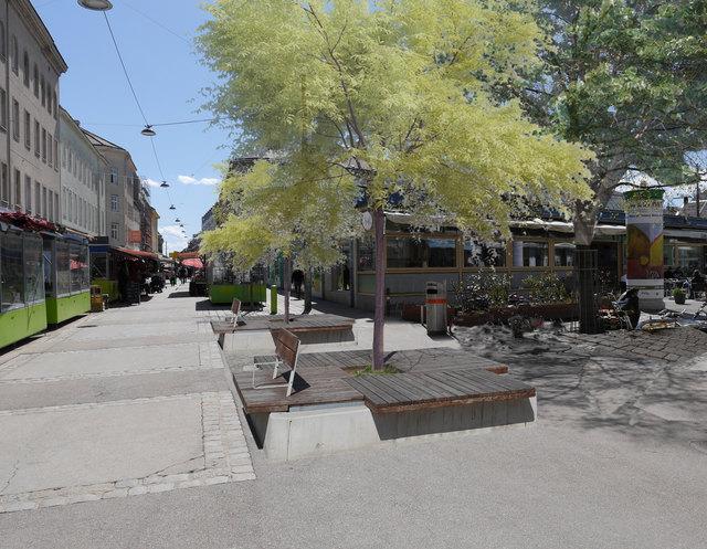 Neue Bänke und Bäume bei der Brunnengasse sollen zum Verweilen einladen.