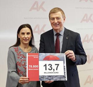Susanne Kißlinger, Leiterin Arbeits- und Sozialrecht der AK Kärnten ud AK-Präsident Günther Goach