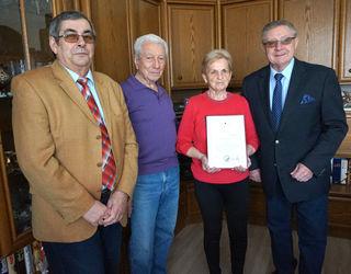 80er in Himberg: Robert Stauss, Kurt Schmickl, Edith Schmickl, Bürgermeister Erich Klein