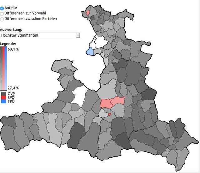 Drei rote Gemeinden mischen sich in den schwarzen Pongauer Fleckerlteppich.