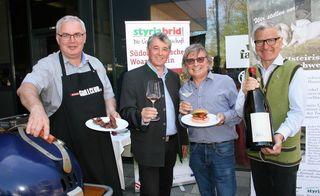 Hans-Peter Bäck (Styriabrid GmbH), Weinbaudirektor Werner Luttenberger, Walter und Erich Polz (Vinofaktur Genussregal)