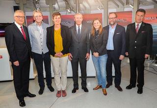 Landtagswahl Salzburg 2018 – Runde der Spitzenkanditaten: v.l. Walter Steidl, Karl Schnell,Astrid Rössler, Wilfried Haslauer, Marlene Svazek, Sepp Schellhorn und Hans Mayr.
