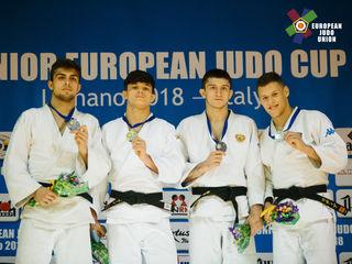 Lignano 2018 Europacup-Sieger der Perchtoldsdorfer Volksbank Galaxy Judo Tiger Mathias CZIZSEK (2.v.li), links der zweitplatzierte Matteo MAZZI (ITA) sowie die drittplatzierten Georgii ELBAKIEV (RUS) und Mattia PROSDOCIMO (ITA)