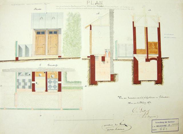 Der Original-Plan der ersten öffentlichen Toilettenanlage mit Senkgrube.