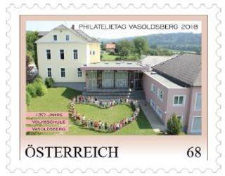 Diese Sondermarke anlässlich 130 Jahre Volksschule Vasoldsberg gibt es nur am Philatelietag