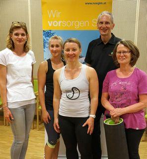v.l.n.r.: Anita Dirry (NÖGKK), Katharina Fink, Trainerin Sabine Edith Braun, Hubert Lukse und Eva Möhsner