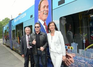 Wiener Linien-Chef Günter Steinbauer, Arnold Schwarzenegger und Stadträtin Ulli Sima am Mittwoch in Wien.