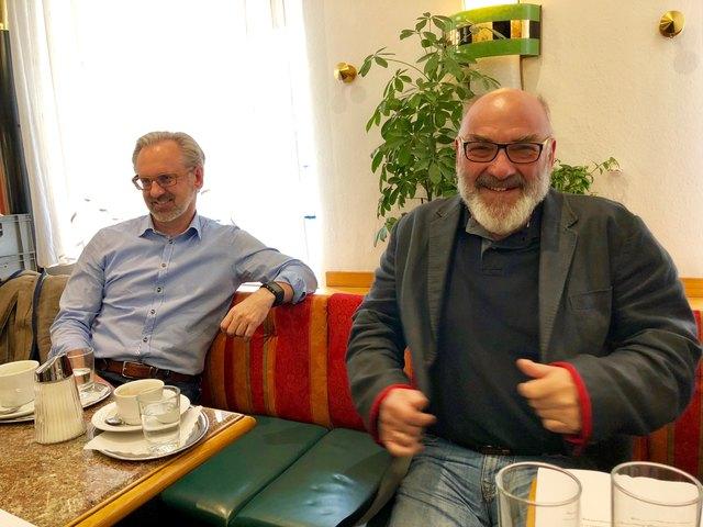 Ulf Elser (r.) und Michael Simon von der Kaufmannschaft.