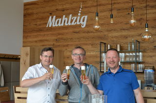 Siegfried Schicklgruber, Geschäftsführer  Hansi Hintermayer und Spitzenbier-Braumeister, Geschäftsführer und Biersommelier Jürgen Winkler.