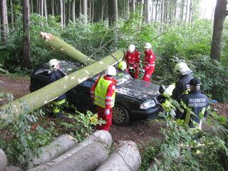 ÖRK: Szenario Baum durch Sturm auf Auto - 2 eingeklemmte Personen