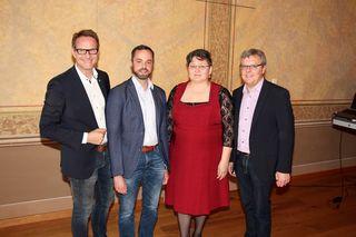 Die neuen SPÖ-Gemeinderäte Vesna Radosevic und Patrick Rupp mit Bgm. Marcus Martschitsch und Vzbgm. Herwig Matejka.