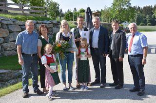 Clarissa und Thomas Terler, LR Anton Lang, BKO Johann Reisinger, Bürgermeister Bernhard Spitzer