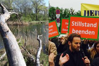 Links: Der Lobautunnel würde unter der Dechantlacke durchführen. Rechts: 300 Menschen demonstrierten im Jahr 2016 für das Projekt.