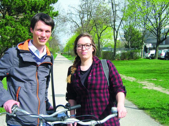 David Hacker und Constanze Kiener untersuchen im Rahmen ihrer Masterarbeit den Radverkehr in der Südstadt.
