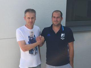 Andreas Leitner (li.) und Wartberg-Funktionär Matej Pavlovic freuen sich schon auf die Zusammenarbeit.