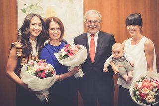 Tochter Christina, Gattin Gertrud, Kommerzialrat Roderich Urschler mit Tochter Julia und Enkel Arthur. (v.l.)